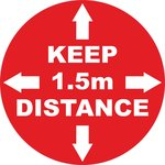 Floorsticker keep distance 1,5m red-white