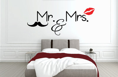 muursticker slaapkamer mr mrs