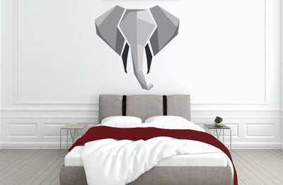 Muursticker slaapkamer olifant abstract