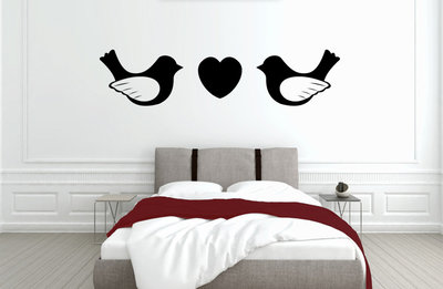 Muursticker slaapkamer love birds