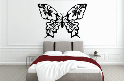 Muursticker slaapkamer hawaii butterfly